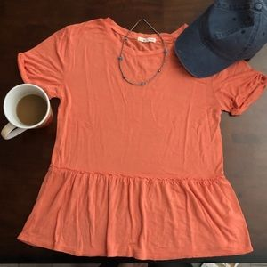 Orange peplum tee shirt size S modest